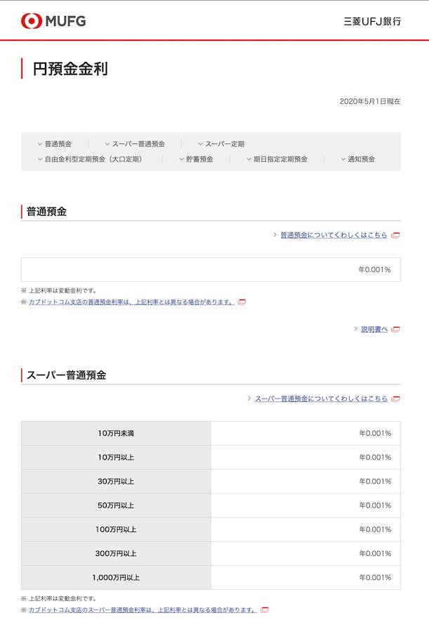 円預金の金利_三菱UFJ銀行