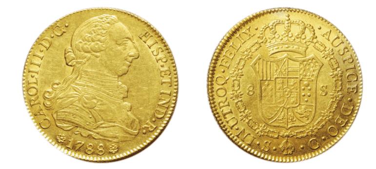 スぺイン8エスクード金貨 カルロス3世 1759-1788